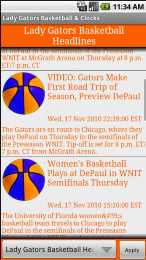 Lady Gators BBall News & Clock Android Sports
