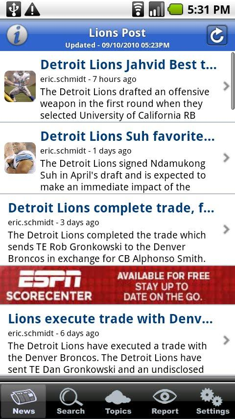 Lions Post Android Sports