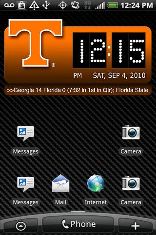 Tennessee Vols Clock Widget XL Android Sports