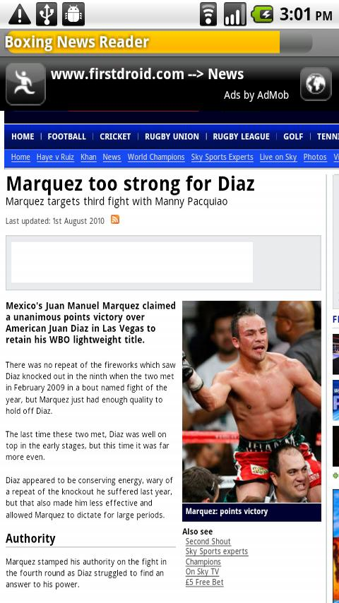 Boxing News Reader Android Sports