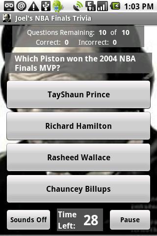 Joels Basketball Finals Trivia Android Sports
