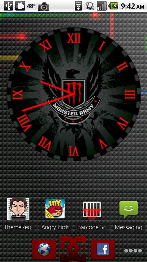 Monster Energy Red Clock Android Themes