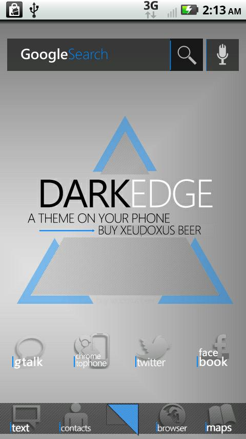 DarkEdge Blue (thin) Android Themes