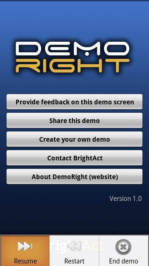 DemoRight : mobile apps demos Android Tools