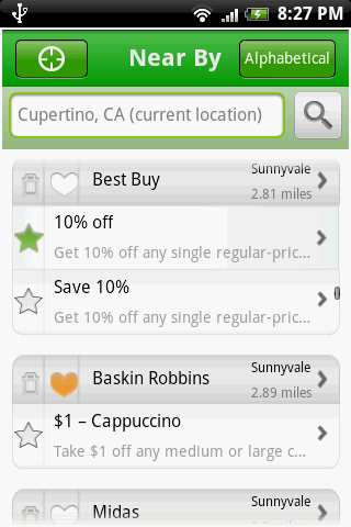 Radar Coupons Android Shopping