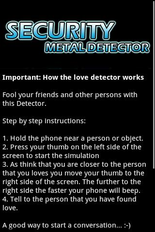 Security Metal Detector Android Entertainment