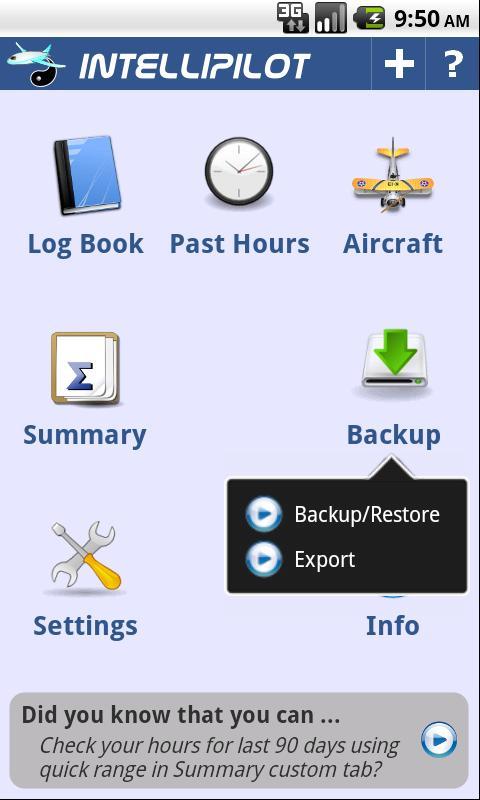 intelliPilot – Pilot LogBook Android Tools