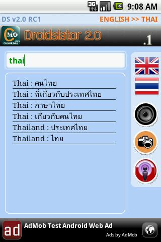 Droidslator Thai Dictionary Android Productivity
