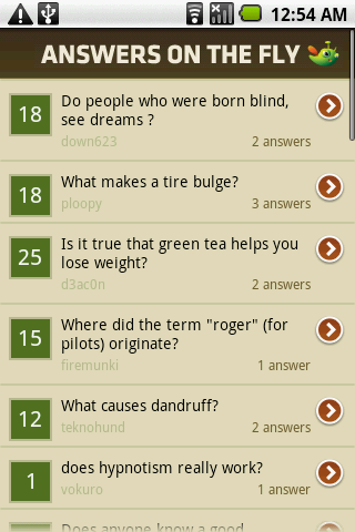 Answers on the Fly Android Social