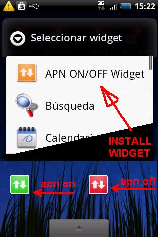 APN on/off Widget Android Communication