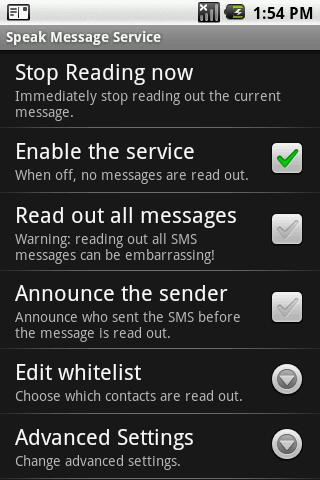 Speak Message Service Android Communication