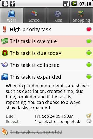 Task list Android Productivity