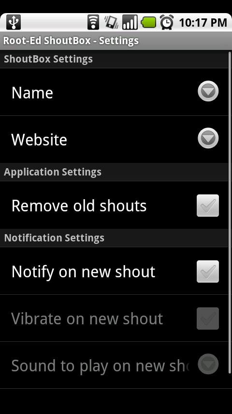 Root-Ed Shoutbox Android Communication
