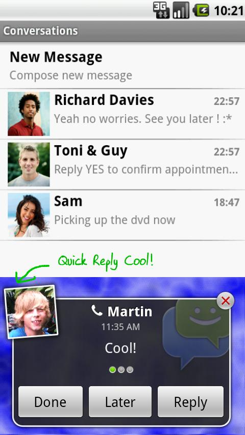 chompSMS Android Communication