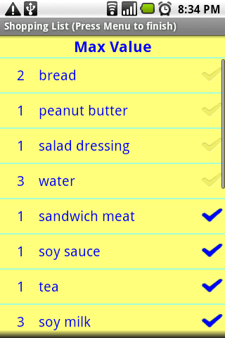 Simple Shopping List Android Shopping