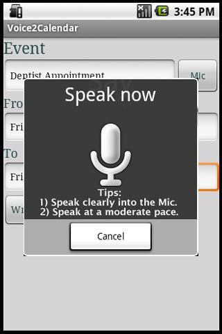 Voice 2 Calendar Android Communication