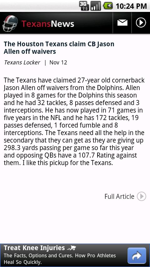 Texans News Android Sports