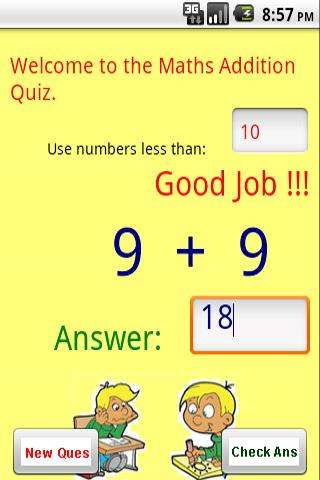 Maths – Addition Quiz Android Brain & Puzzle