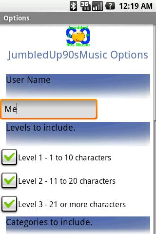 Jumbled Up 90′s Music Titles Android Brain & Puzzle