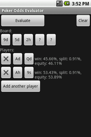 Poker Odds Evaluator Android Cards & Casino